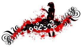 Fille et défilements noirs, endroits rouges Photographie stock