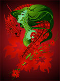 Fille et dragon Images stock