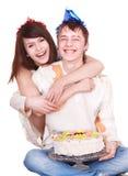 Fille et garçon d'adolescent de couples. Images libres de droits