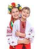 Fille et garçon dans le costume ukrainien national Image libre de droits