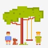 Fille et garçon de personnes de pixel avec un chien illustration stock