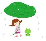 Fille et grenouille mignonnes illustration libre de droits