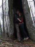 Fille et homme dans un arbre Images libres de droits
