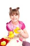 Fille et jouets Images libres de droits