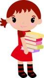 Fille et livre mignons illustration stock