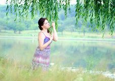 Fille et nature Photo stock