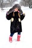 Fille et neige Photos libres de droits