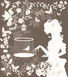 Fille et oiseau de cru Photos stock