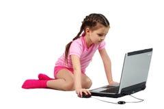 Fille et ordinateur Images libres de droits