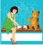 Fille et ours Image libre de droits