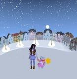 Fille et ours de nounours se tenant dans l'endroit neigeux Images libres de droits
