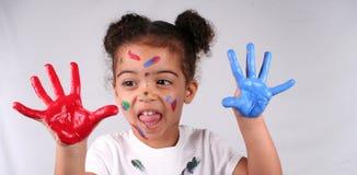 Fille et peinture Image stock