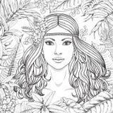 Fille et plantes tropicales illustration de vecteur