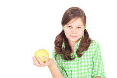 Fille et pomme Photo stock