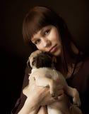 Fille et roquet Image libre de droits