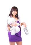 Fille et son lapin de nounours Image libre de droits