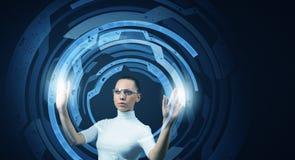 Fille et technologies de l'avenir Image stock