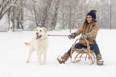 Fille et un chien dans la neige Image libre de droits