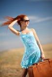 Fille et valise Photo libre de droits