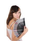 Fille et ventilateur Photo stock