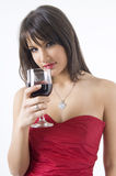 Fille et vin Photos stock
