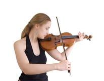Fille et violon Photographie stock