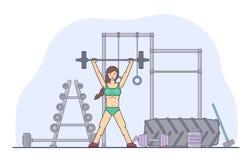 Fille exécutant des exercices de crossfit dans le gymnase Jeune femme faisant la séance d'entraînement Forme physique, bannière d illustration de vecteur