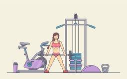 Fille exécutant des exercices de crossfit dans le gymnase Jeune femme faisant la séance d'entraînement Forme physique, bannière d illustration libre de droits