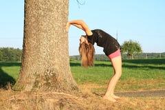 Fille exerçant le yoga par le tronc Image stock