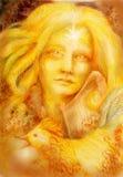 Fille féerique d'or avec l'harpe et le coq, dessinant Photo stock