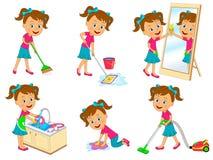 Fille faisant des corvées illustration stock