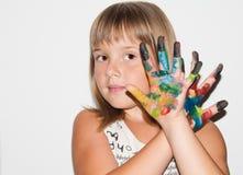 Fille fantastique avec les doigts peints Photographie stock