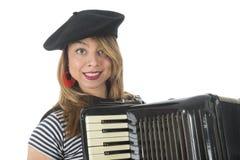 Fille française de portrait avec l'accordéon photographie stock