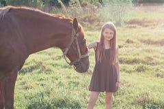 Fille frottant son cheval et regardant l'appareil-photo Photo libre de droits