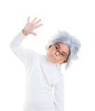 Fille futuriste asiatique d'enfant avec le cheveu gris Photographie stock libre de droits