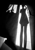 Fille gaie avec un chat - ombre sur le plancher de maison Images stock