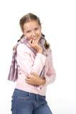 Fille gaie dans un chemisier rose avec une écharpe Images libres de droits