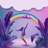 Fille gaie tenant un parapluie et se cachant de la pluie et du d illustration libre de droits