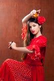 Fille gitane de l'Espagne de danseur de flamenco de castagnettes Photo stock