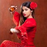 Fille gitane de l'Espagne de danseur de flamenco de castagnettes Images stock
