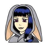 Fille gothique adolescente dans la robe de kigurumi Image libre de droits