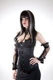 Fille gothique dans le corset noir photo libre de droits