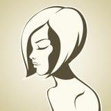 Fille graphique avec la coupe de cheveux de plomb illustration stock