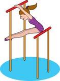 Fille gymnastique sur des bars Photo libre de droits