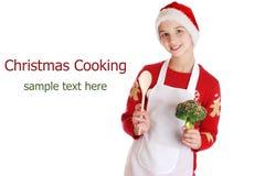 Fille habillée en tant qu'elfe de Noël sur le fond images stock