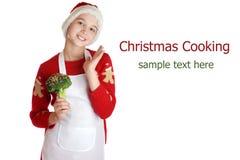 Fille habillée en tant qu'elfe de Noël sur le fond photo libre de droits