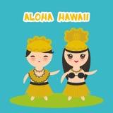 Fille hawaïenne de garçon de Kawaii de danseur de danse polynésienne de conception d'Aloha Hawaii Card sur le fond de bliue Vecte Photos stock