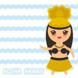 Fille hawaïenne de Kawaii de danseur de danse polynésienne de conception d'Aloha Hawaii Card le bleu ondule le fond d'océan de me Image stock