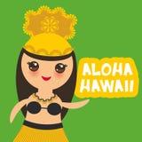 Fille hawaïenne de Kawaii de danseur de danse polynésienne de conception d'Aloha Hawaii Card sur le fond vert Vecteur Photo libre de droits