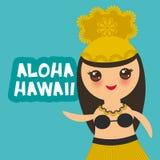 Fille hawaïenne de Kawaii de danseur de danse polynésienne de conception d'Aloha Hawaii Card sur le fond vert Vecteur Images stock